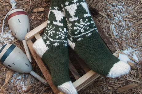 Snowy Pines Socks (Maine)